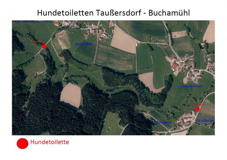 Standorte der Hundestoiletten in Taußersdorf und Buchamühl